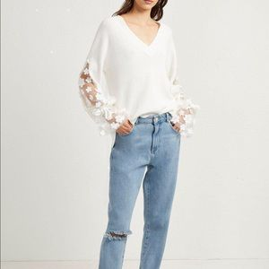 French Connection Sweaters - French Connection Appliqué Lace Knit Jumper